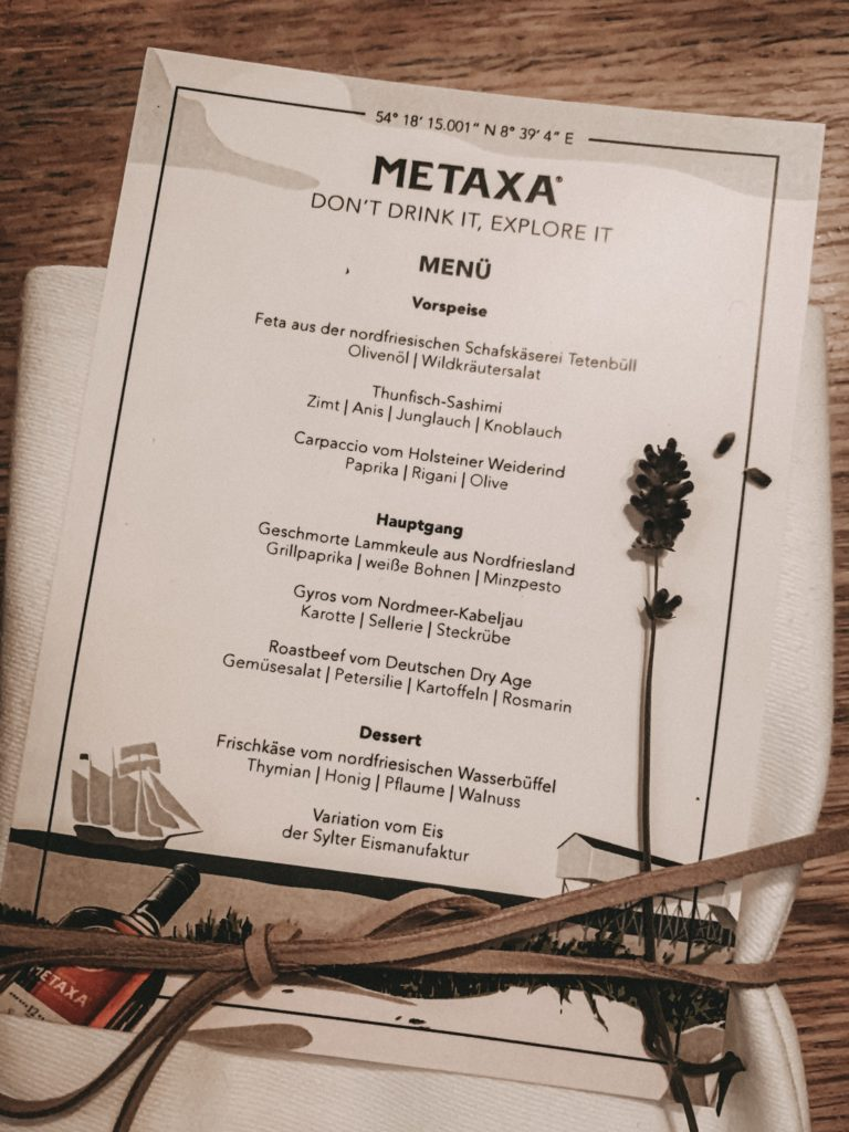 Menü Metaxa Dinner